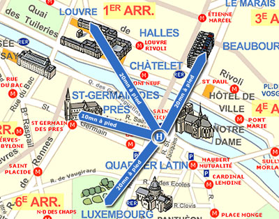 Mapa e acesso hotel les rives de notre dame paris perto do - Saint michel paris metro ...
